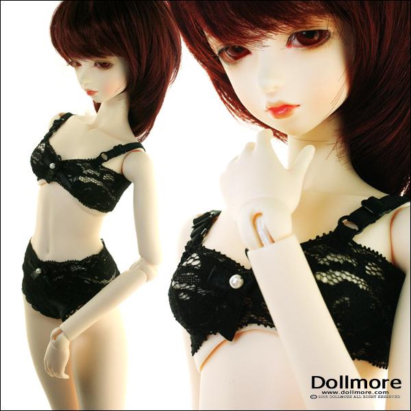 Panty Set Black Lacy Bra Dollmore MSD